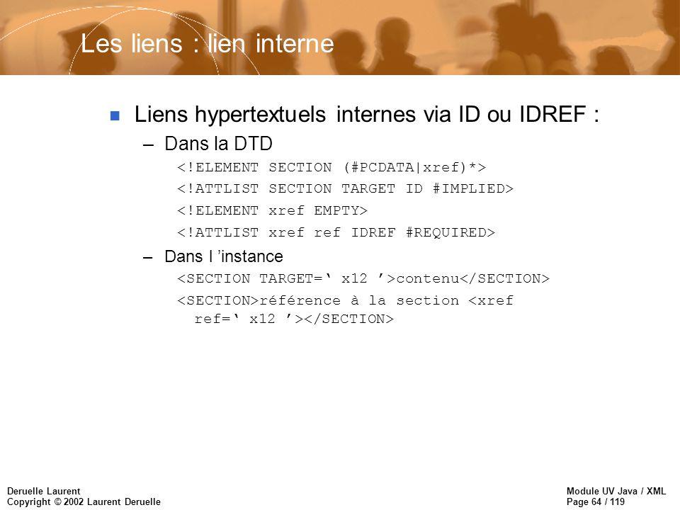 Module UV Java / XML Page 64 / 119 Deruelle Laurent Copyright © 2002 Laurent Deruelle Les liens : lien interne n Liens hypertextuels internes via ID o
