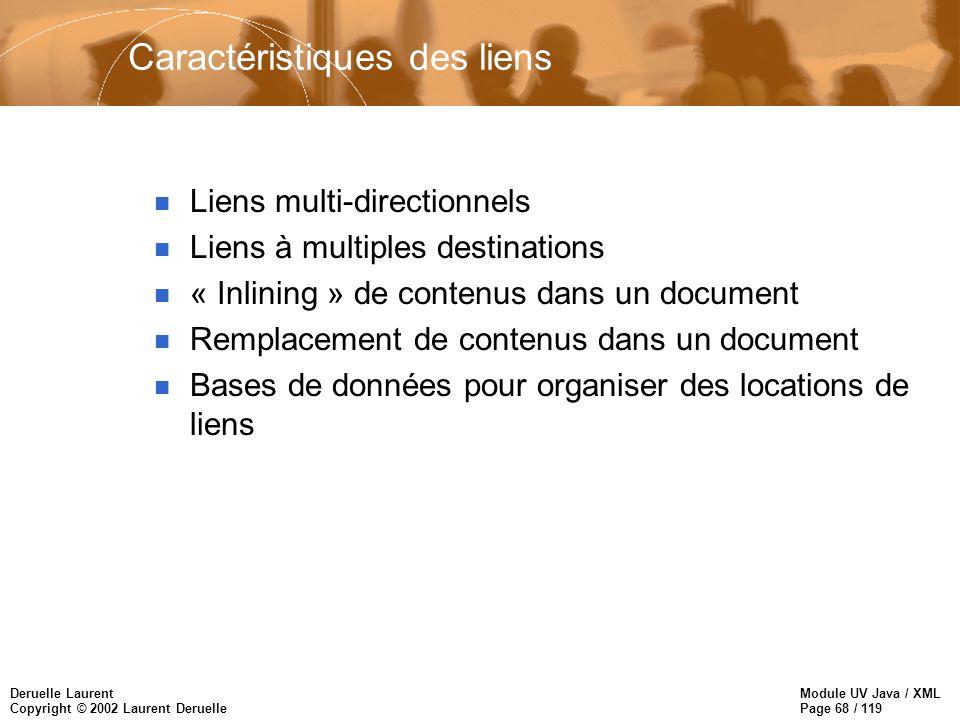 Module UV Java / XML Page 68 / 119 Deruelle Laurent Copyright © 2002 Laurent Deruelle Caractéristiques des liens n Liens multi-directionnels n Liens à