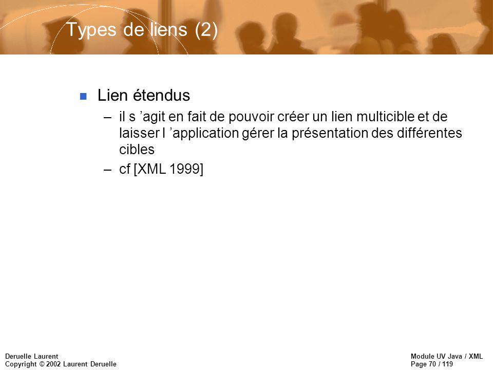 Module UV Java / XML Page 70 / 119 Deruelle Laurent Copyright © 2002 Laurent Deruelle Types de liens (2) n Lien étendus –il s agit en fait de pouvoir