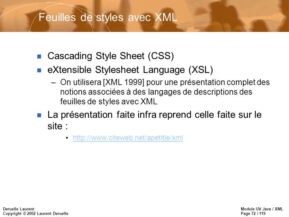 Module UV Java / XML Page 72 / 119 Deruelle Laurent Copyright © 2002 Laurent Deruelle Feuilles de styles avec XML n Cascading Style Sheet (CSS) n eXte