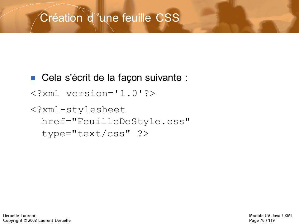 Module UV Java / XML Page 76 / 119 Deruelle Laurent Copyright © 2002 Laurent Deruelle n Cela s'écrit de la façon suivante : Création d une feuille CSS