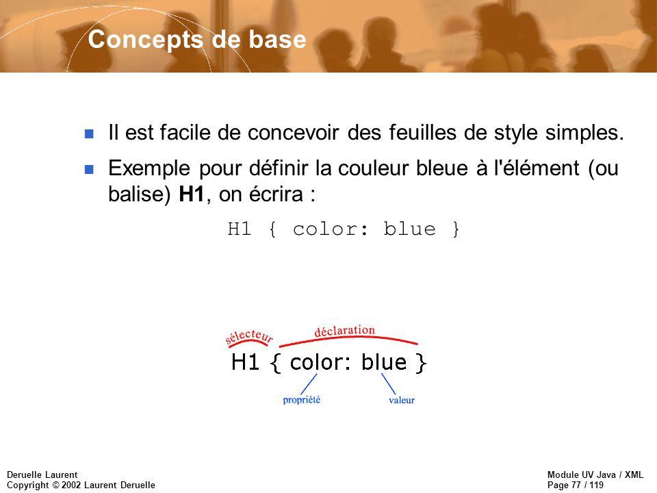 Module UV Java / XML Page 77 / 119 Deruelle Laurent Copyright © 2002 Laurent Deruelle Concepts de base n Il est facile de concevoir des feuilles de st