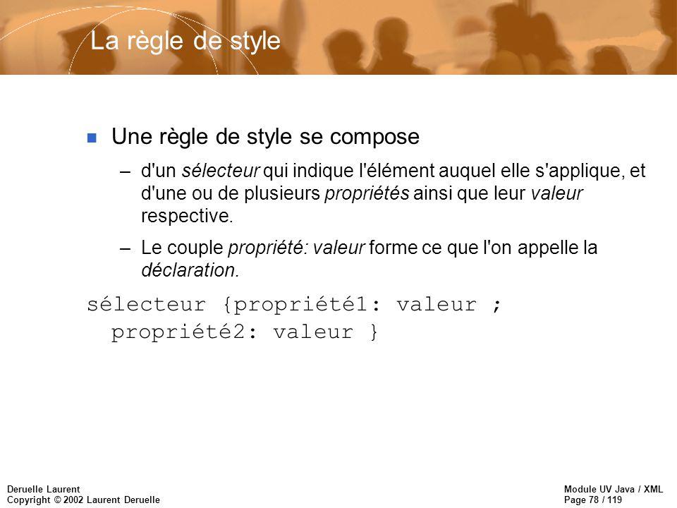 Module UV Java / XML Page 78 / 119 Deruelle Laurent Copyright © 2002 Laurent Deruelle La règle de style n Une règle de style se compose –d'un sélecteu