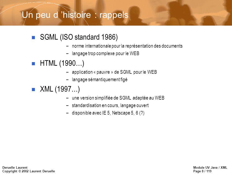 Module UV Java / XML Page 39 / 119 Deruelle Laurent Copyright © 2002 Laurent Deruelle Instructions de traitement n Une indication de traitement est destinée aux applications qui manipulent les documents XML –cible : nom de l application –arg1, arg2 : chaînes passées à l application
