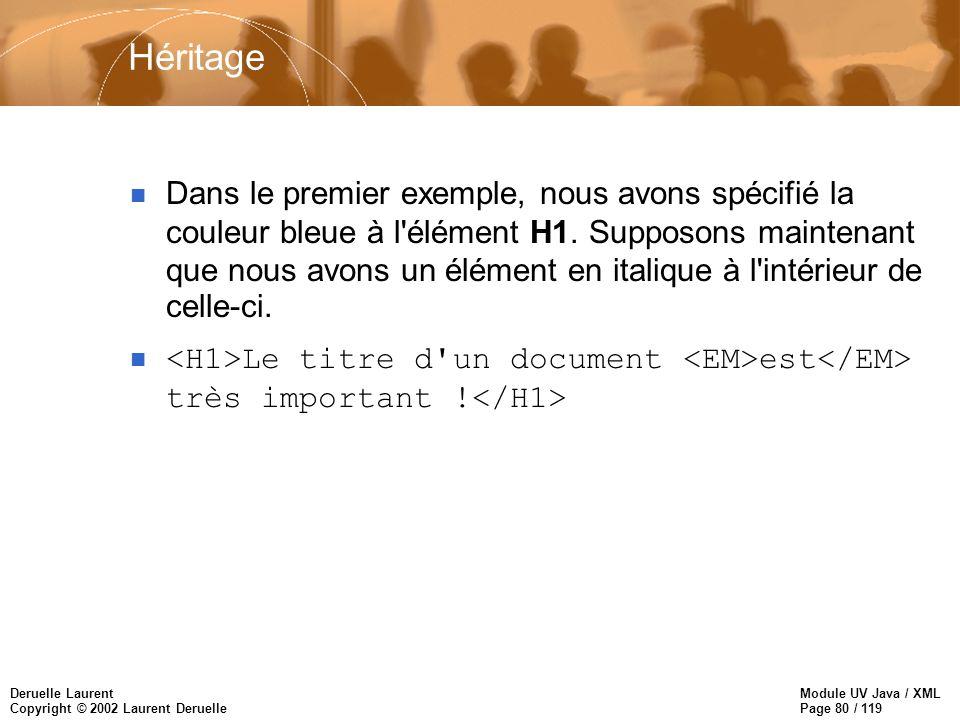 Module UV Java / XML Page 80 / 119 Deruelle Laurent Copyright © 2002 Laurent Deruelle Héritage Dans le premier exemple, nous avons spécifié la couleur