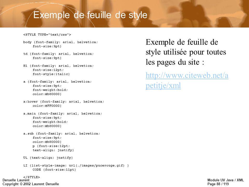 Module UV Java / XML Page 88 / 119 Deruelle Laurent Copyright © 2002 Laurent Deruelle body {font-family: arial, helvetica; font-size:9pt} td {font-fam