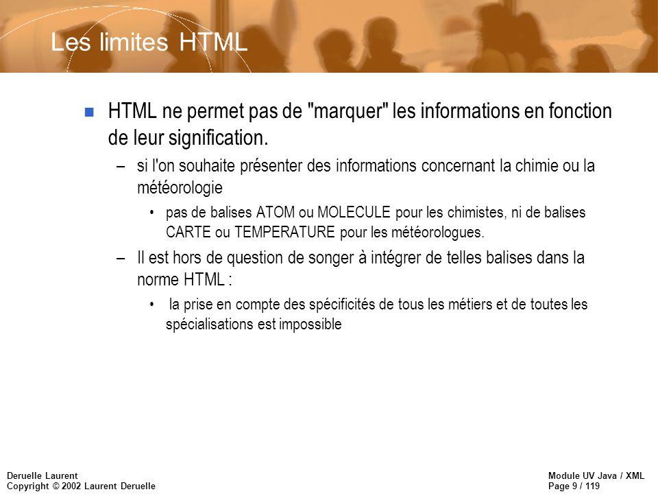 Module UV Java / XML Page 10 / 119 Deruelle Laurent Copyright © 2002 Laurent Deruelle –HTML est fait pour être affiché dans un « browser » pas pour échanger de l information entre programmes –HTML est faible pour l hypertexte n HTML ne respecte pas de sémantique formelle –on peut sans aucune contraintes, construire un document avec des balises H2, et sans balises H1.