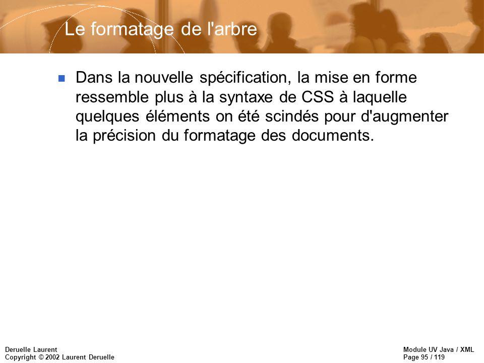 Module UV Java / XML Page 95 / 119 Deruelle Laurent Copyright © 2002 Laurent Deruelle n Dans la nouvelle spécification, la mise en forme ressemble plu