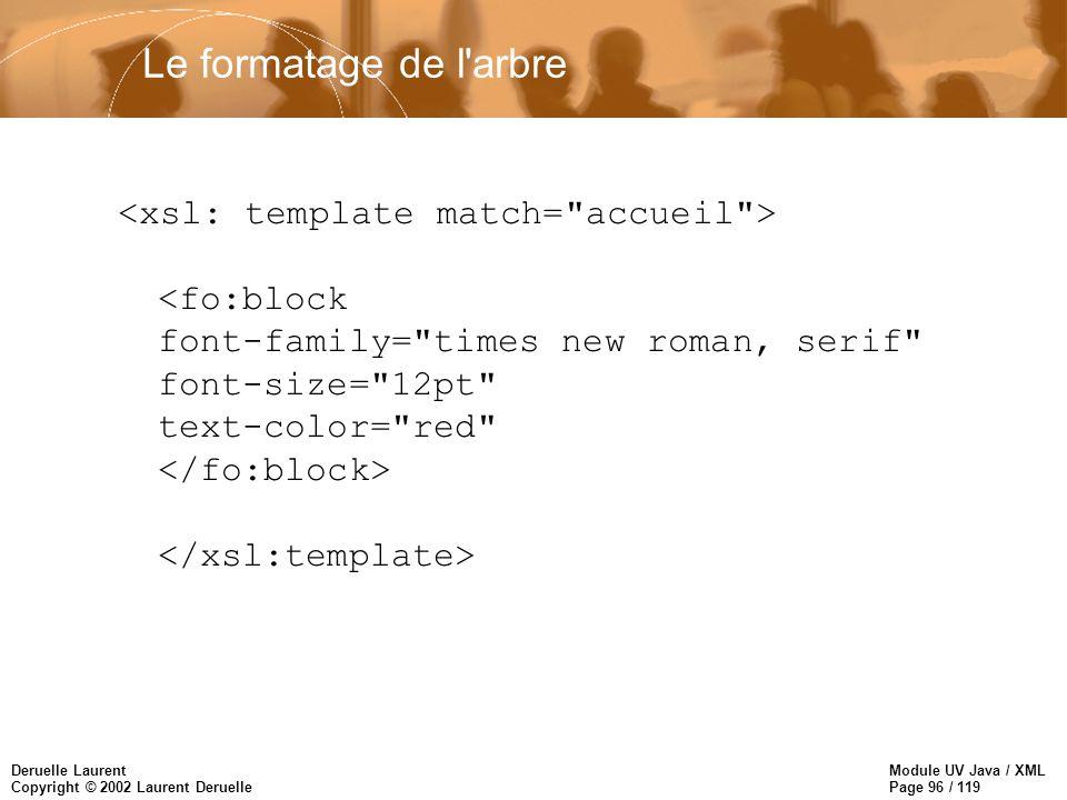 Module UV Java / XML Page 96 / 119 Deruelle Laurent Copyright © 2002 Laurent Deruelle Le formatage de l'arbre