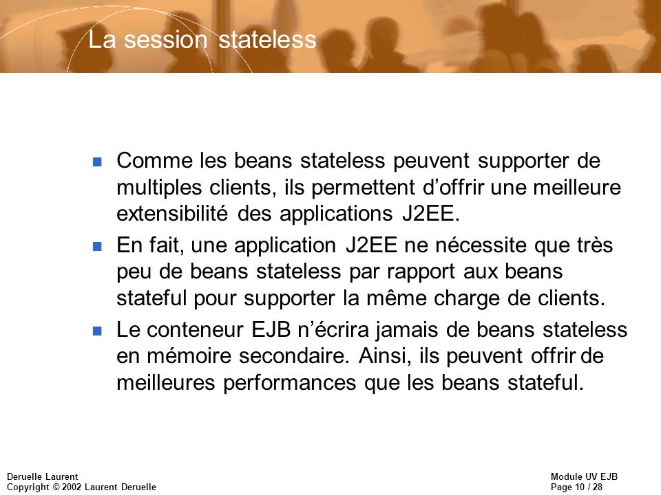 Module UV EJB Page 10 / 28 Deruelle Laurent Copyright © 2002 Laurent Deruelle La session stateless n Comme les beans stateless peuvent supporter de multiples clients, ils permettent doffrir une meilleure extensibilité des applications J2EE.