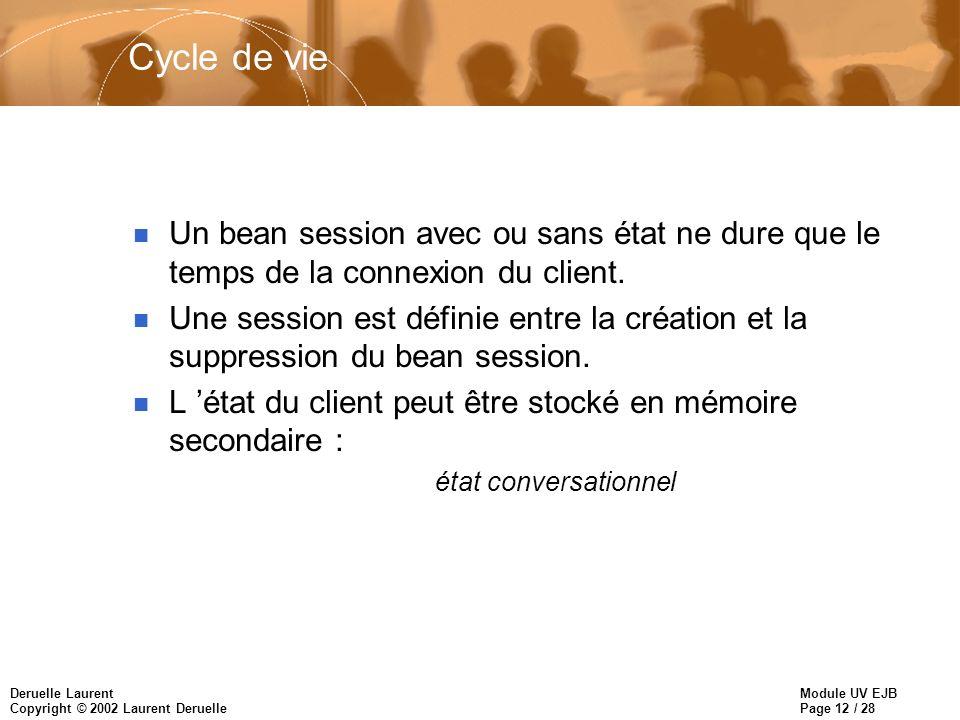 Module UV EJB Page 12 / 28 Deruelle Laurent Copyright © 2002 Laurent Deruelle Cycle de vie n Un bean session avec ou sans état ne dure que le temps de