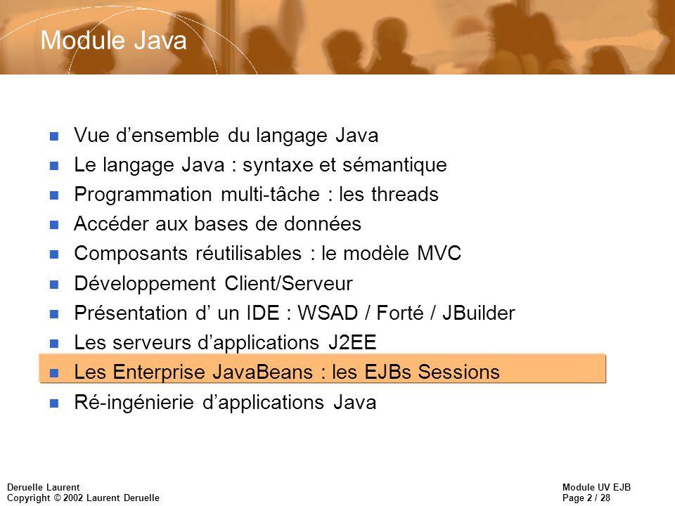Module UV EJB Page 2 / 28 Deruelle Laurent Copyright © 2002 Laurent Deruelle Module Java n Vue densemble du langage Java n Le langage Java : syntaxe et sémantique n Programmation multi-tâche : les threads n Accéder aux bases de données n Composants réutilisables : le modèle MVC n Développement Client/Serveur n Présentation d un IDE : WSAD / Forté / JBuilder n Les serveurs dapplications J2EE n Les Enterprise JavaBeans : les EJBs Sessions n Ré-ingénierie dapplications Java