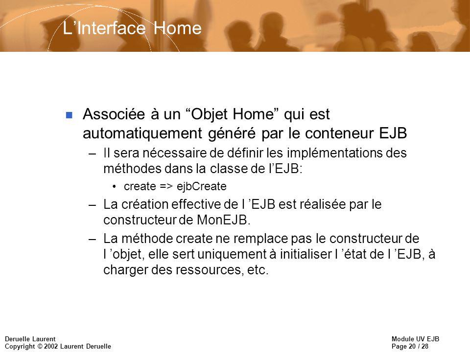 Module UV EJB Page 20 / 28 Deruelle Laurent Copyright © 2002 Laurent Deruelle LInterface Home n Associée à un Objet Home qui est automatiquement génér