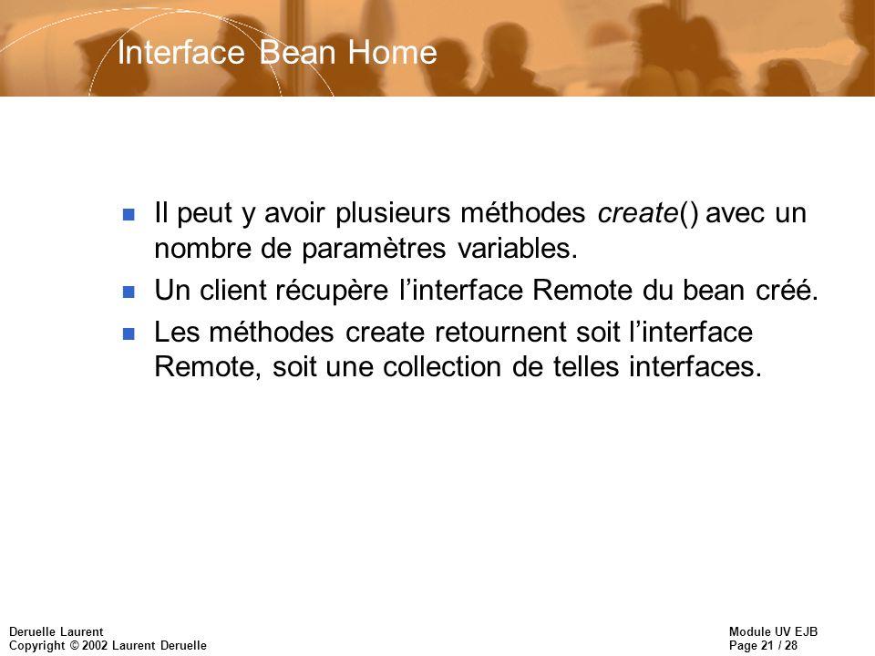 Module UV EJB Page 21 / 28 Deruelle Laurent Copyright © 2002 Laurent Deruelle Interface Bean Home n Il peut y avoir plusieurs méthodes create() avec un nombre de paramètres variables.