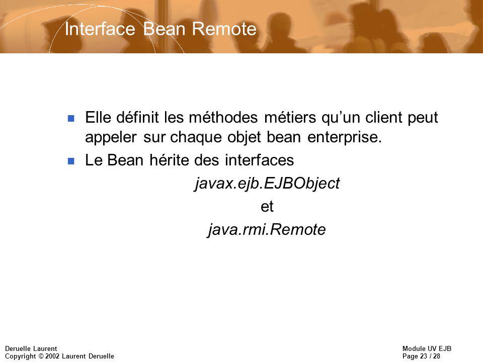 Module UV EJB Page 23 / 28 Deruelle Laurent Copyright © 2002 Laurent Deruelle Interface Bean Remote n Elle définit les méthodes métiers quun client peut appeler sur chaque objet bean enterprise.