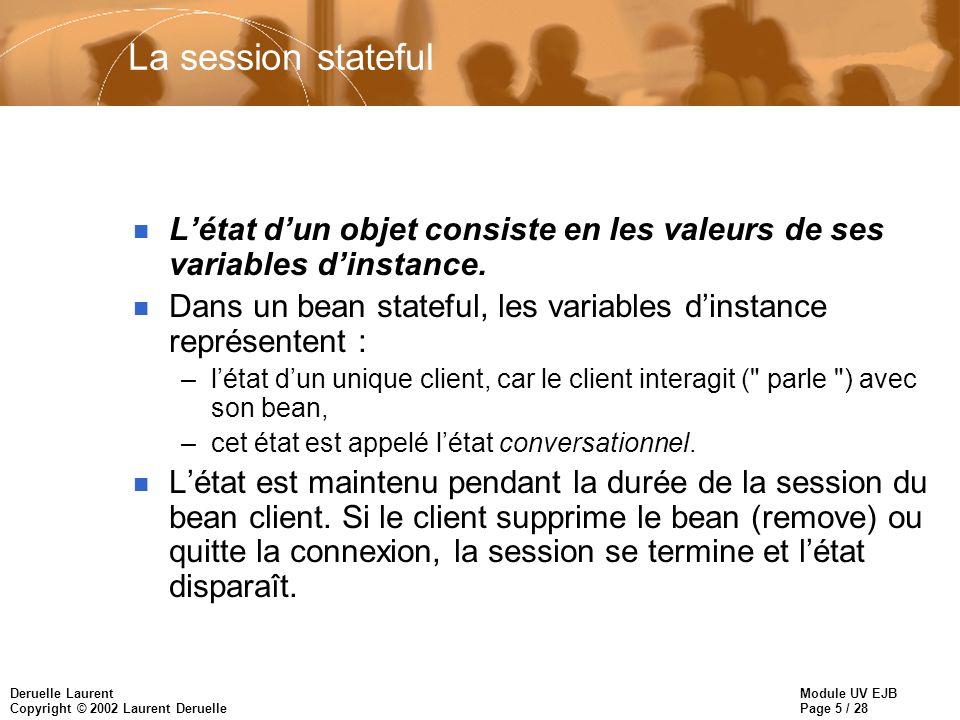 Module UV EJB Page 5 / 28 Deruelle Laurent Copyright © 2002 Laurent Deruelle La session stateful n Létat dun objet consiste en les valeurs de ses variables dinstance.