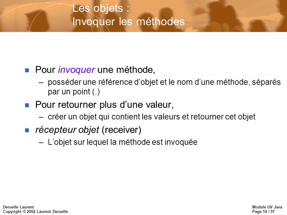 Module UV Java Page 14 / 97 Deruelle Laurent Copyright © 2002 Laurent Deruelle Les objets : Invoquer les méthodes n Pour invoquer une méthode, –posséd