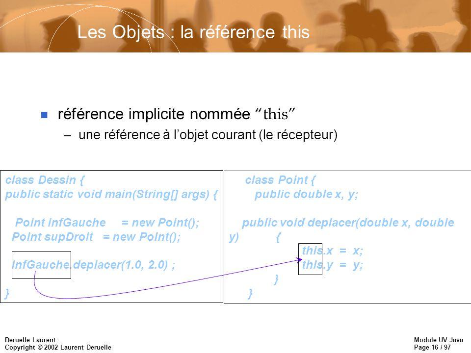 Module UV Java Page 16 / 97 Deruelle Laurent Copyright © 2002 Laurent Deruelle Les Objets : la référence this référence implicite nommée this –une réf