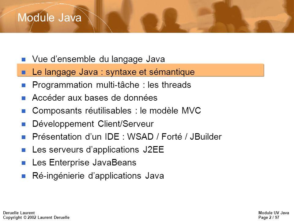 Module UV Java Page 2 / 97 Deruelle Laurent Copyright © 2002 Laurent Deruelle Module Java n Vue densemble du langage Java n Le langage Java : syntaxe et sémantique n Programmation multi-tâche : les threads n Accéder aux bases de données n Composants réutilisables : le modèle MVC n Développement Client/Serveur n Présentation dun IDE : WSAD / Forté / JBuilder n Les serveurs dapplications J2EE n Les Enterprise JavaBeans n Ré-ingénierie dapplications Java