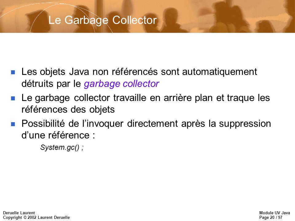 Module UV Java Page 20 / 97 Deruelle Laurent Copyright © 2002 Laurent Deruelle Le Garbage Collector n Les objets Java non référencés sont automatiquem