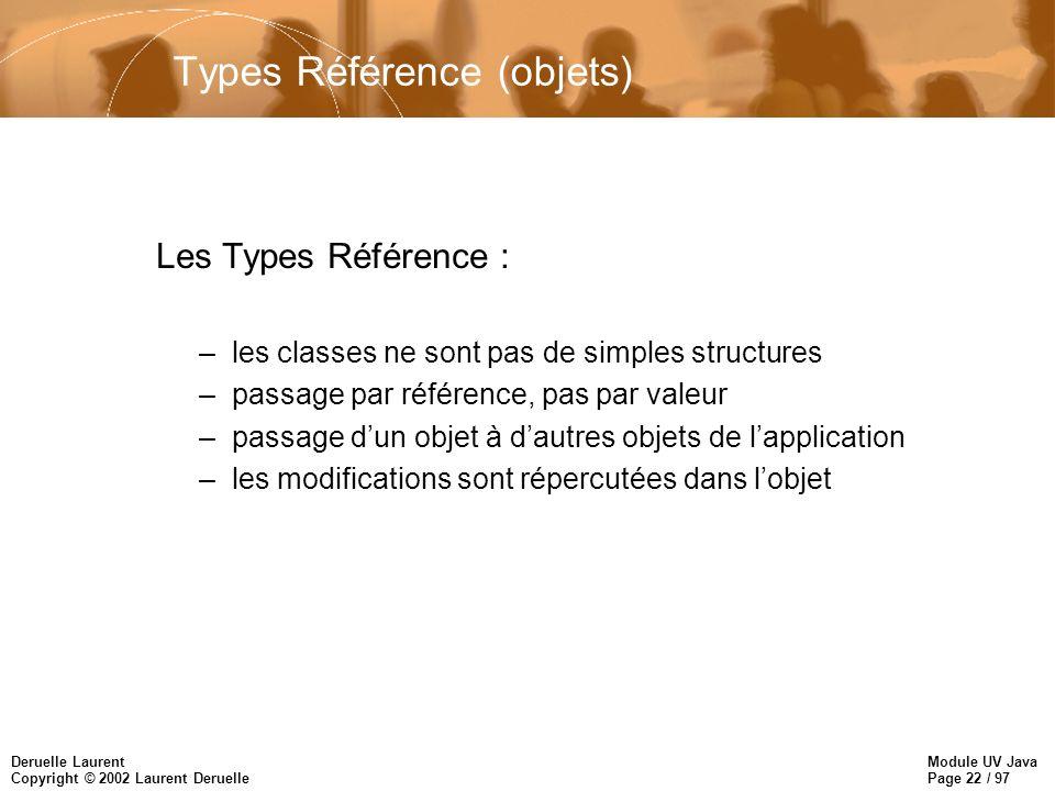 Module UV Java Page 22 / 97 Deruelle Laurent Copyright © 2002 Laurent Deruelle Types Référence (objets) Les Types Référence : –les classes ne sont pas