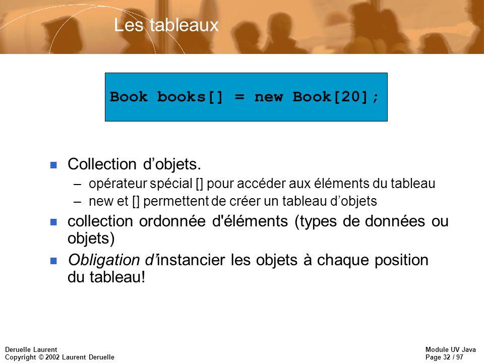 Module UV Java Page 32 / 97 Deruelle Laurent Copyright © 2002 Laurent Deruelle Les tableaux n Collection dobjets. –opérateur spécial [] pour accéder a