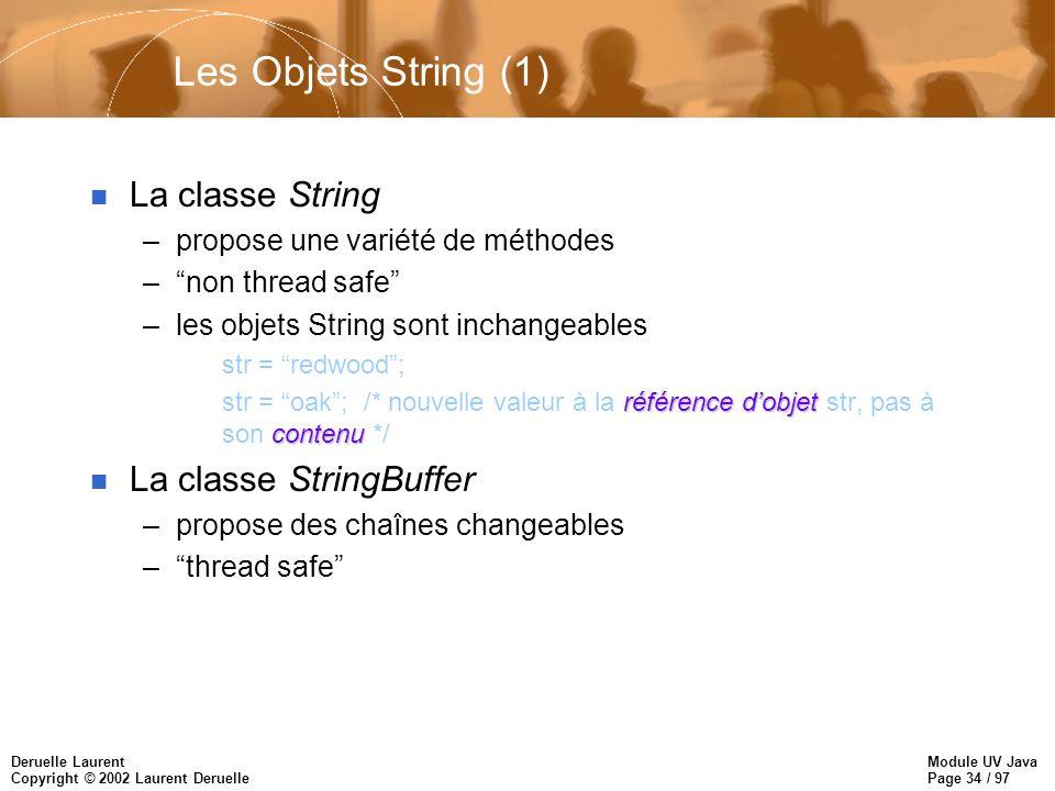 Module UV Java Page 34 / 97 Deruelle Laurent Copyright © 2002 Laurent Deruelle Les Objets String (1) n La classe String –propose une variété de méthod