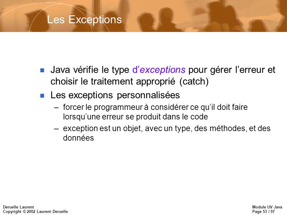 Module UV Java Page 53 / 97 Deruelle Laurent Copyright © 2002 Laurent Deruelle Les Exceptions n Java vérifie le type dexceptions pour gérer lerreur et
