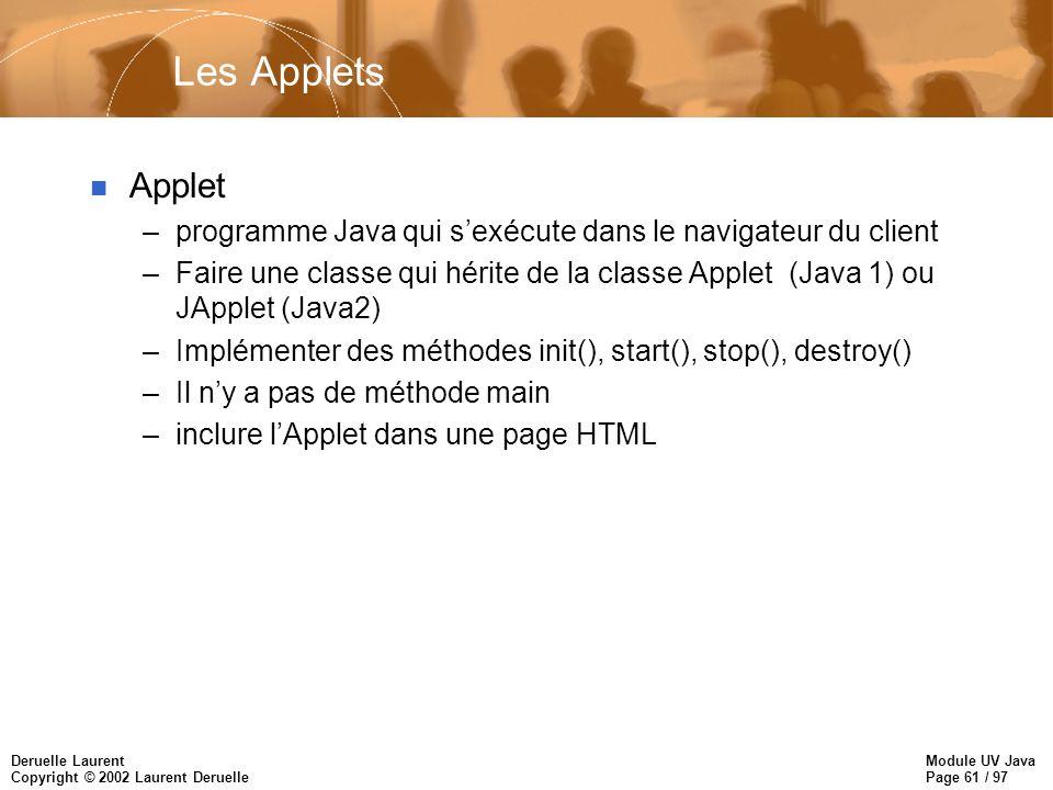 Module UV Java Page 61 / 97 Deruelle Laurent Copyright © 2002 Laurent Deruelle Les Applets n Applet –programme Java qui sexécute dans le navigateur du