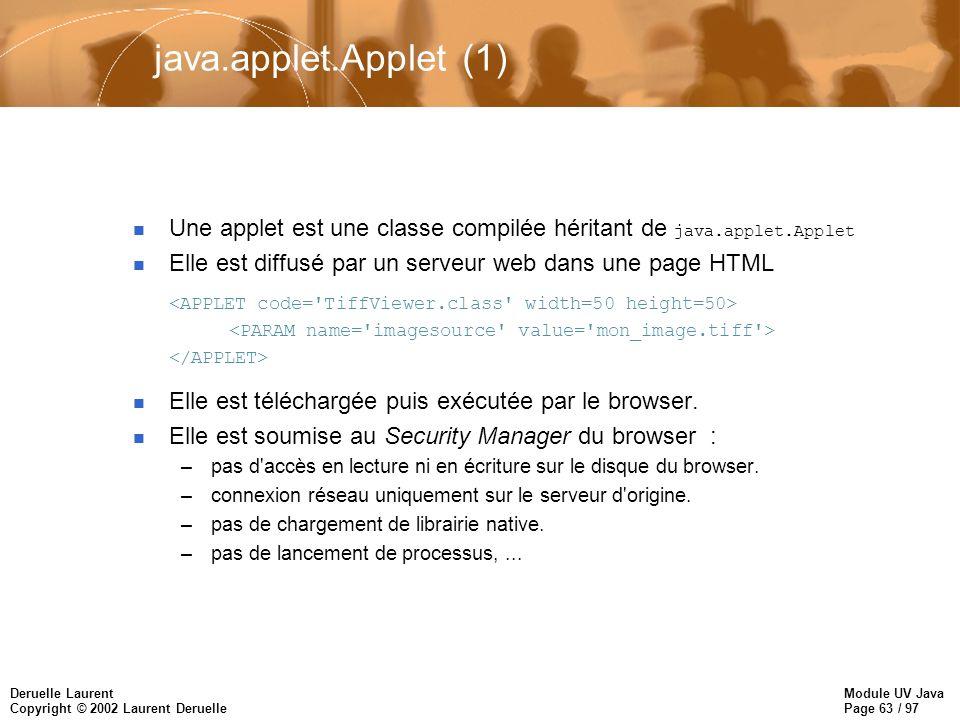 Module UV Java Page 63 / 97 Deruelle Laurent Copyright © 2002 Laurent Deruelle java.applet.Applet (1) Une applet est une classe compilée héritant de java.applet.Applet n Elle est diffusé par un serveur web dans une page HTML n Elle est téléchargée puis exécutée par le browser.