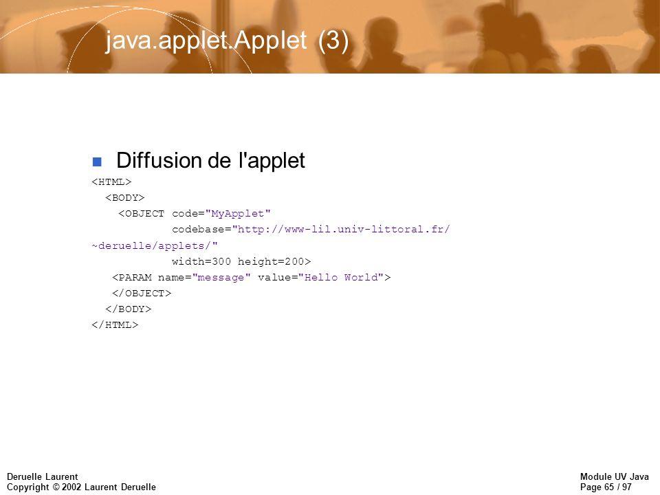Module UV Java Page 65 / 97 Deruelle Laurent Copyright © 2002 Laurent Deruelle java.applet.Applet (3) n Diffusion de l applet <OBJECT code= MyApplet codebase= http://www-lil.univ-littoral.fr/ ~deruelle/applets/ width=300 height=200>