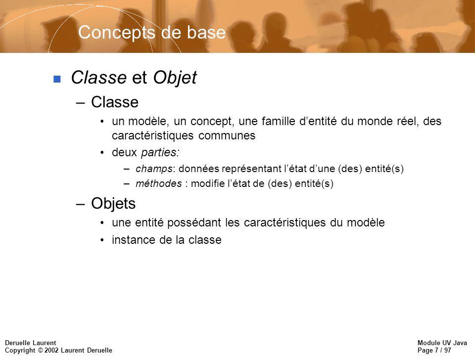 Module UV Java Page 7 / 97 Deruelle Laurent Copyright © 2002 Laurent Deruelle Concepts de base n Classe et Objet –Classe un modèle, un concept, une fa