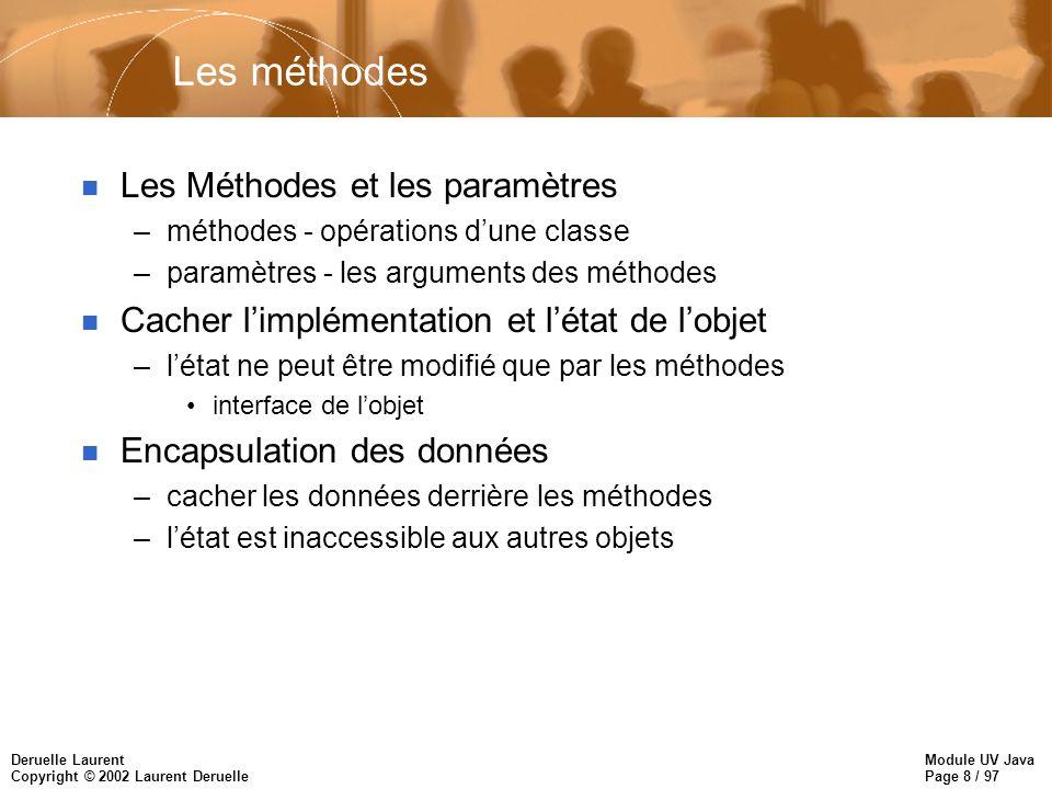 Module UV Java Page 8 / 97 Deruelle Laurent Copyright © 2002 Laurent Deruelle Les méthodes n Les Méthodes et les paramètres –méthodes - opérations dun