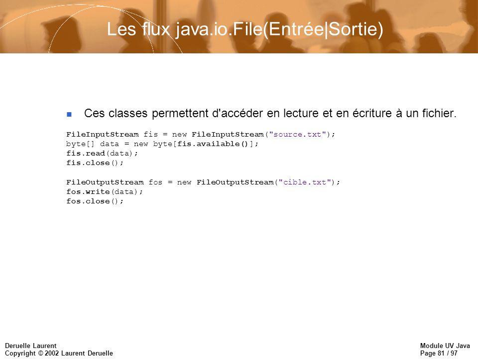 Module UV Java Page 81 / 97 Deruelle Laurent Copyright © 2002 Laurent Deruelle Les flux java.io.File(Entrée|Sortie) Ces classes permettent d accéder en lecture et en écriture à un fichier.
