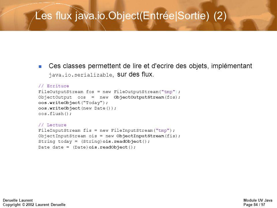 Module UV Java Page 84 / 97 Deruelle Laurent Copyright © 2002 Laurent Deruelle Ces classes permettent de lire et d ecrire des objets, implémentant java.io.serializable, sur des flux.