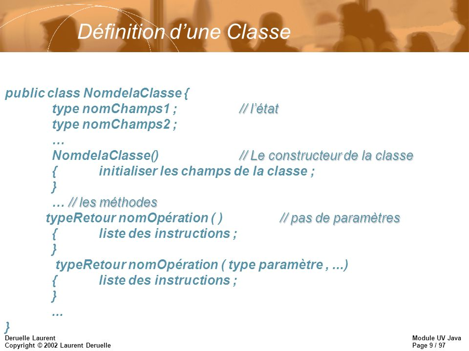 Module UV Java Page 40 / 97 Deruelle Laurent Copyright © 2002 Laurent Deruelle Héritage dune Classe Héritage Simple uniquement !!.