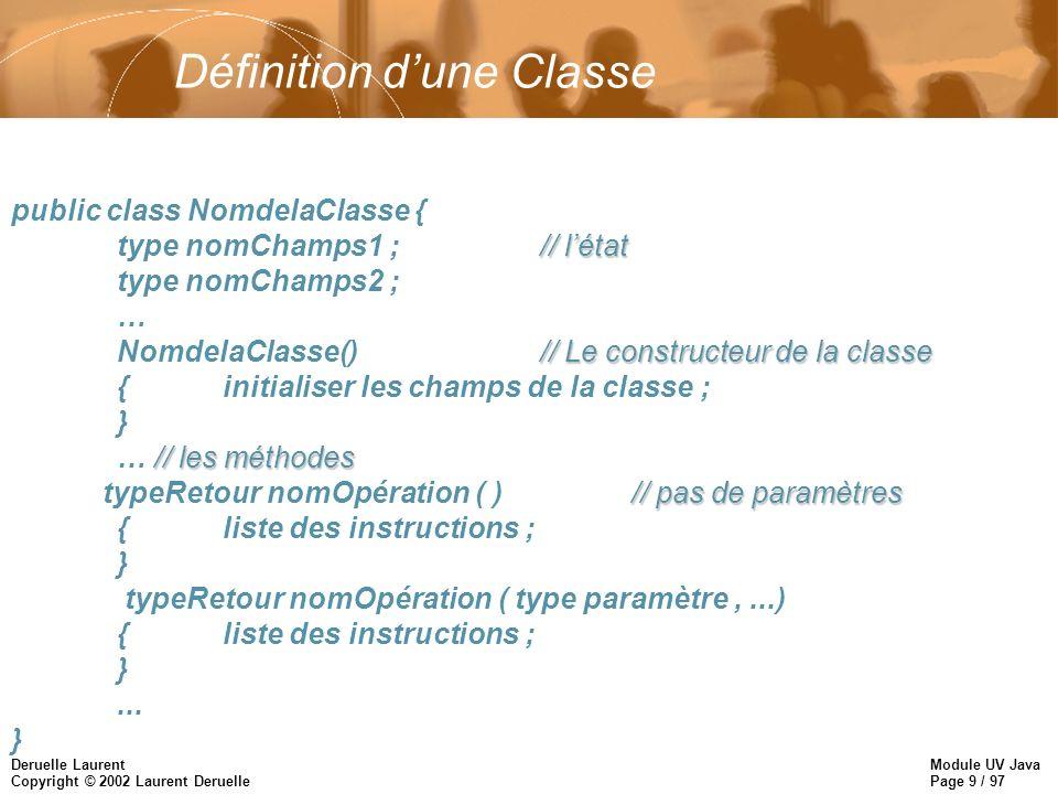 Module UV Java Page 9 / 97 Deruelle Laurent Copyright © 2002 Laurent Deruelle Définition dune Classe public class NomdelaClasse { // létat type nomChamps1 ;// létat type nomChamps2 ; … // Le constructeur de la classe NomdelaClasse()// Le constructeur de la classe {initialiser les champs de la classe ; } // les méthodes … // les méthodes // pas de paramètres typeRetour nomOpération ( )// pas de paramètres {liste des instructions ; } typeRetour nomOpération ( type paramètre,...) {liste des instructions ; }...