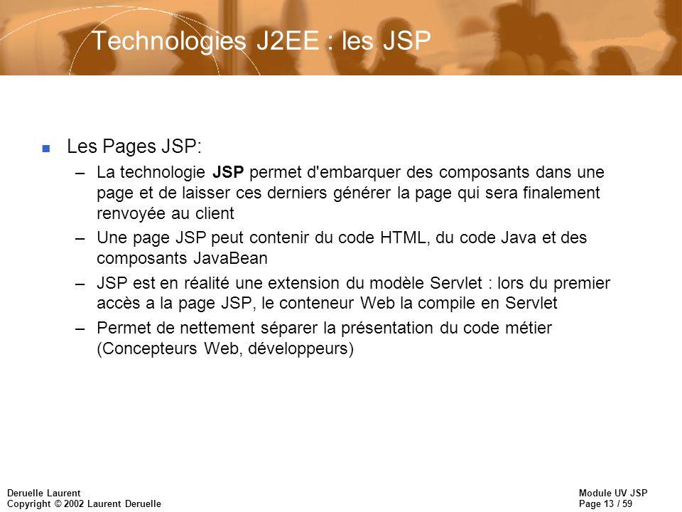 Module UV JSP Page 13 / 59 Deruelle Laurent Copyright © 2002 Laurent Deruelle Technologies J2EE : les JSP n Les Pages JSP: –La technologie JSP permet