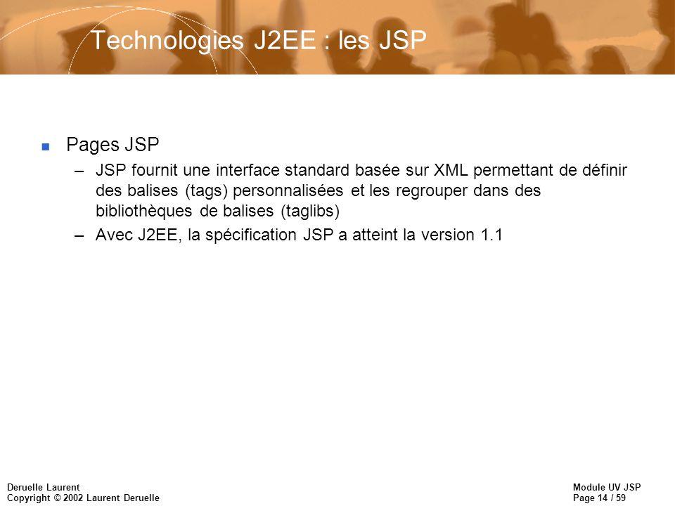 Module UV JSP Page 14 / 59 Deruelle Laurent Copyright © 2002 Laurent Deruelle Technologies J2EE : les JSP n Pages JSP –JSP fournit une interface stand