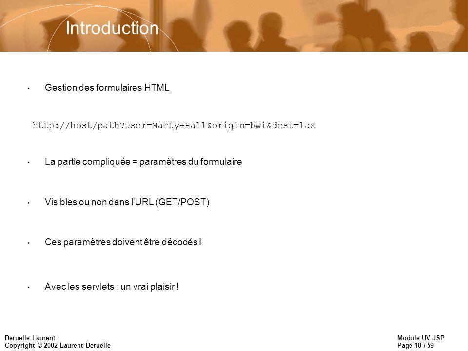 Module UV JSP Page 18 / 59 Deruelle Laurent Copyright © 2002 Laurent Deruelle Introduction Gestion des formulaires HTML http://host/path?user=Marty+Ha