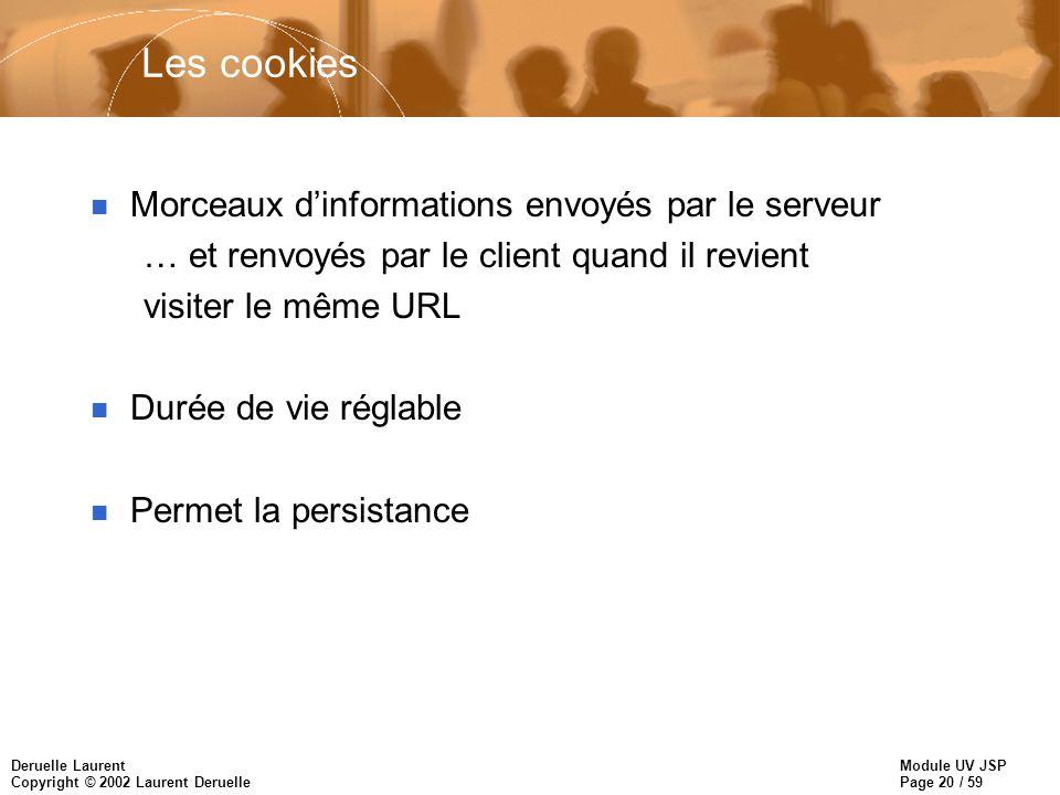 Module UV JSP Page 20 / 59 Deruelle Laurent Copyright © 2002 Laurent Deruelle Les cookies n Morceaux dinformations envoyés par le serveur … et renvoyé