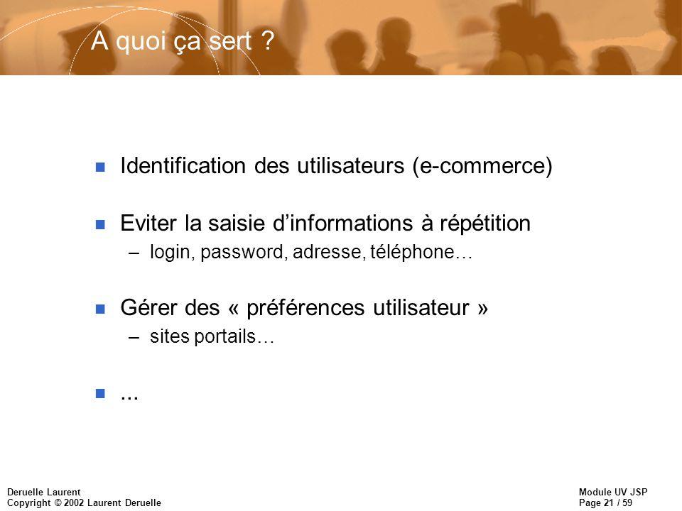 Module UV JSP Page 21 / 59 Deruelle Laurent Copyright © 2002 Laurent Deruelle A quoi ça sert ? n Identification des utilisateurs (e-commerce) n Eviter