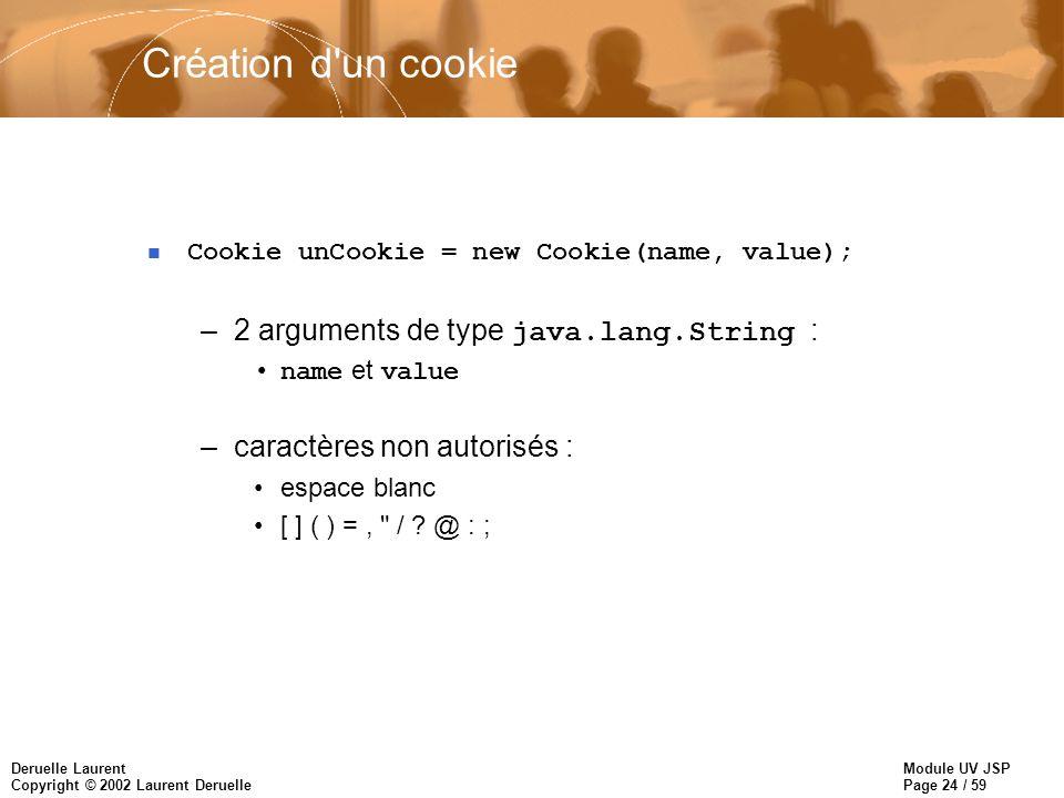 Module UV JSP Page 24 / 59 Deruelle Laurent Copyright © 2002 Laurent Deruelle Création d'un cookie n Cookie unCookie = new Cookie(name, value); –2 arg