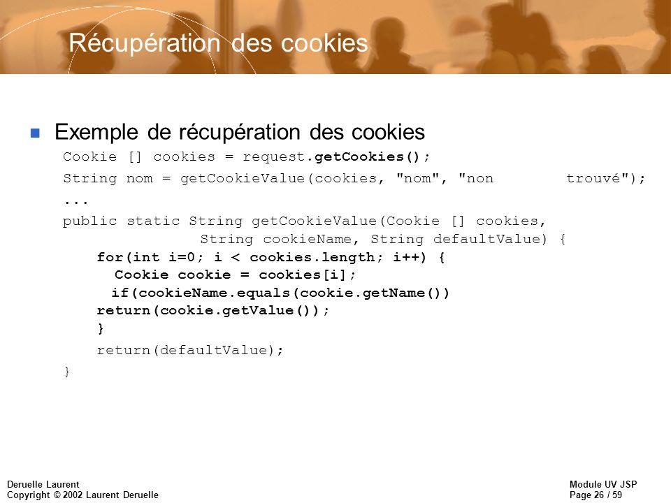 Module UV JSP Page 26 / 59 Deruelle Laurent Copyright © 2002 Laurent Deruelle Récupération des cookies n Exemple de récupération des cookies Cookie []