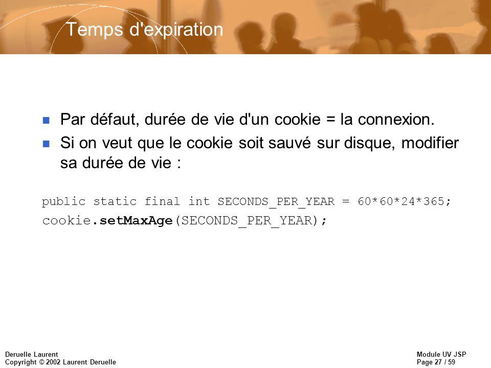 Module UV JSP Page 27 / 59 Deruelle Laurent Copyright © 2002 Laurent Deruelle Temps d'expiration n Par défaut, durée de vie d'un cookie = la connexion