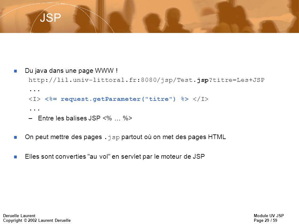 Module UV JSP Page 29 / 59 Deruelle Laurent Copyright © 2002 Laurent Deruelle JSP n Du java dans une page WWW ! http://lil.univ-littoral.fr:8080/jsp/T