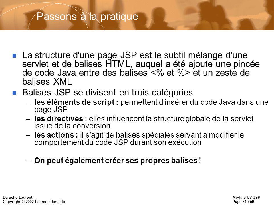 Module UV JSP Page 31 / 59 Deruelle Laurent Copyright © 2002 Laurent Deruelle Passons à la pratique n La structure d'une page JSP est le subtil mélang