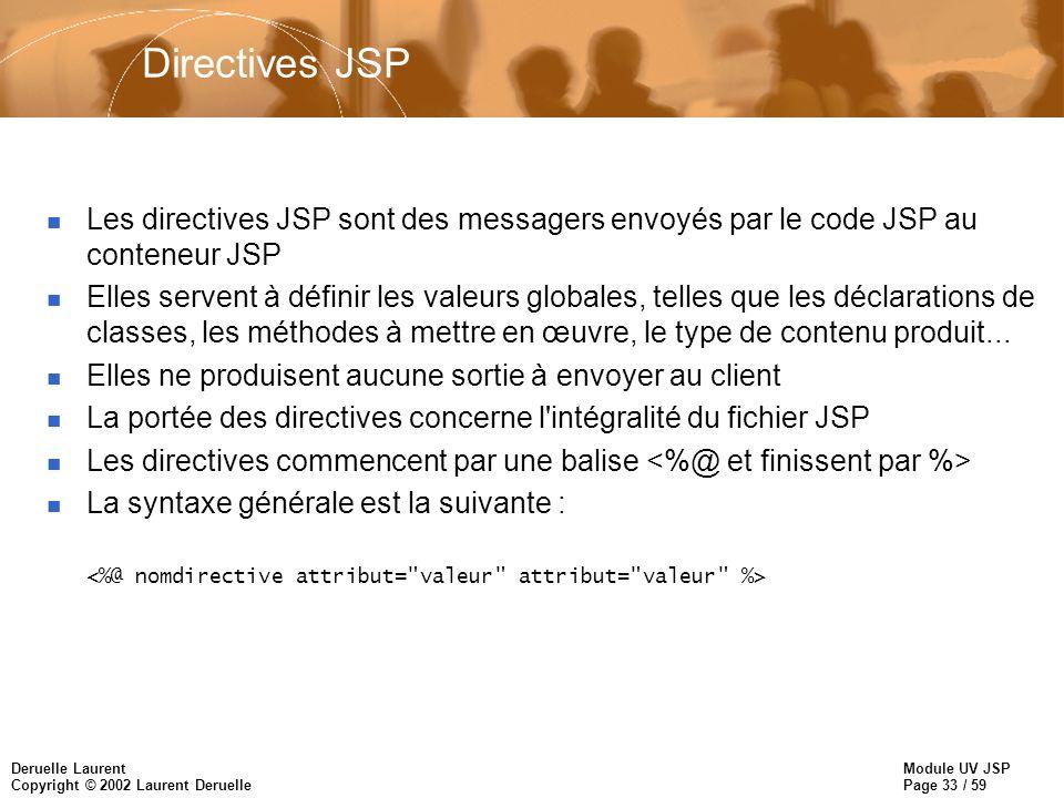 Module UV JSP Page 33 / 59 Deruelle Laurent Copyright © 2002 Laurent Deruelle Directives JSP n Les directives JSP sont des messagers envoyés par le co