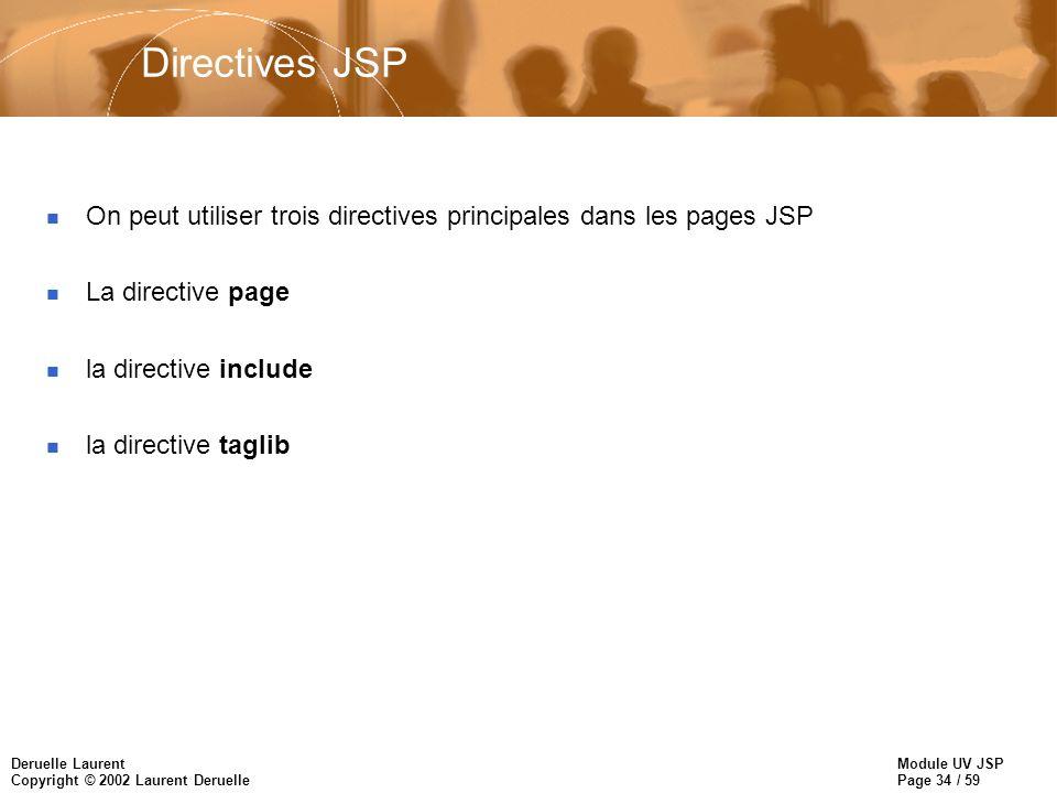 Module UV JSP Page 34 / 59 Deruelle Laurent Copyright © 2002 Laurent Deruelle Directives JSP n On peut utiliser trois directives principales dans les