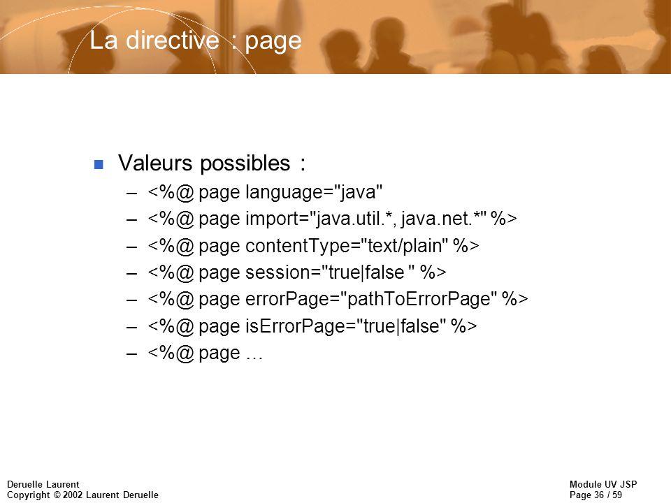 Module UV JSP Page 36 / 59 Deruelle Laurent Copyright © 2002 Laurent Deruelle La directive : page n Valeurs possibles : –<%@ page language= java – –<%@ page …